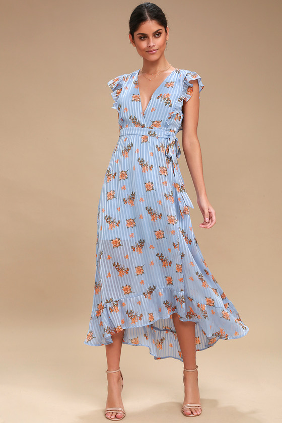 ASTR the Label Lila - Light Blue Dress - Floral Wrap Dress 6c553caa3