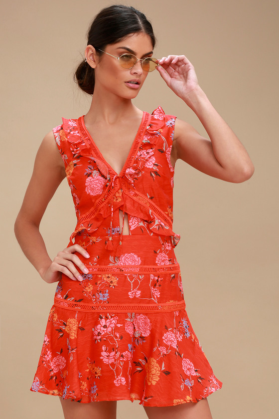 63ced64aeb0cb Finders Keepers Flicker - Coral Red Floral Print Dress