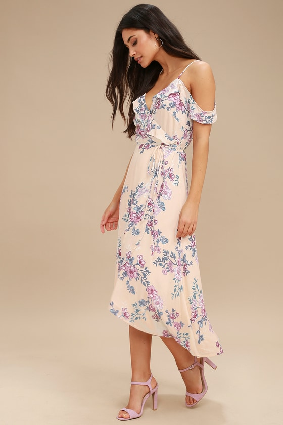 Bouquet Blooms Cream Floral Print Off-the-Shoulder Wrap Dress