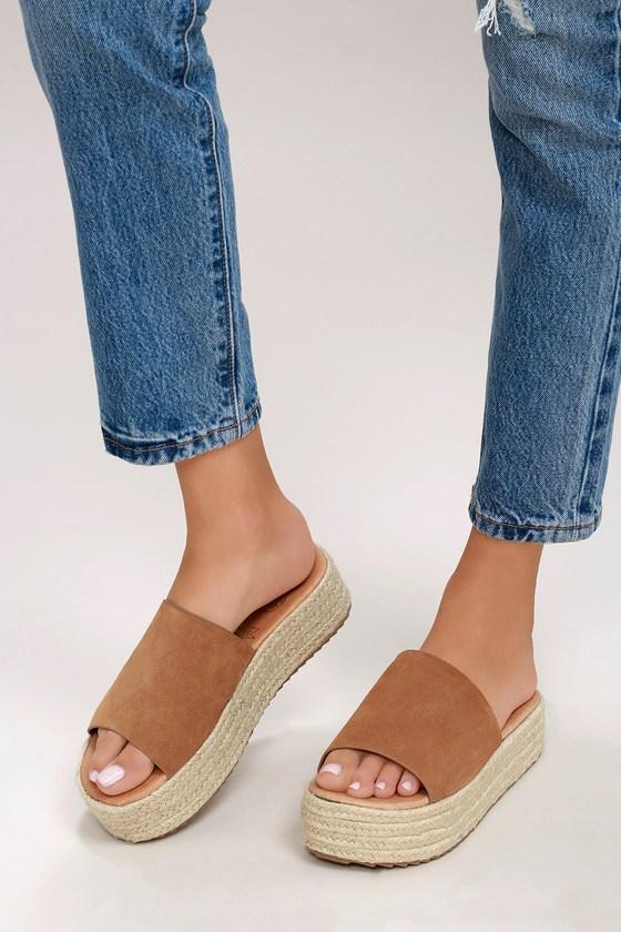 1bf3c2e98d7 Bory Tan Suede Leather Flatform Espadrille Slides