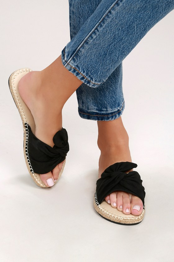 b250bdb49055 MIA Kensi - Black Knotted Slides - Espadrille Slide Sandals