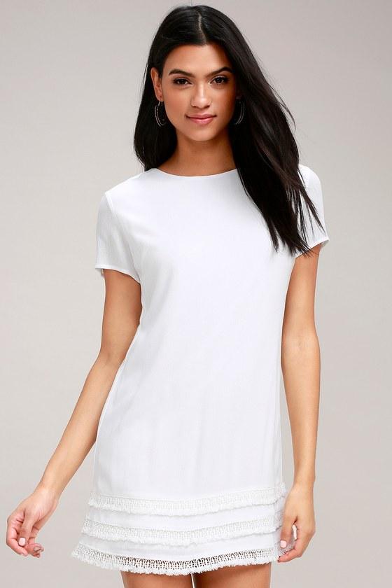 42d48aaaf35 Cute White Dress - Crochet Trimmed Dress - Shift Dress