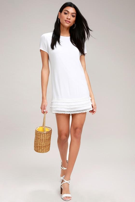 dbaef13535a7f4 Cute White Dress - Crochet Trimmed Dress - Shift Dress