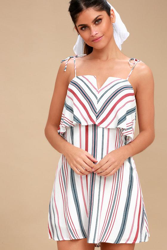 8a08920940a74 Cute White Dress - Red Striped Dress - Flounce Dress
