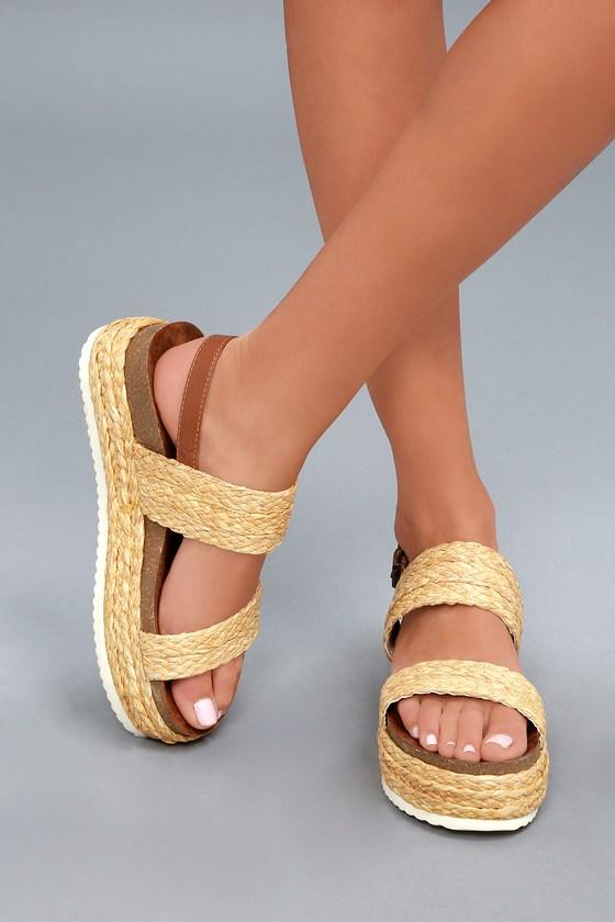 189e930508c MIA Ava - Raffia Sandals - Flatform Sandals - Platform Shoes