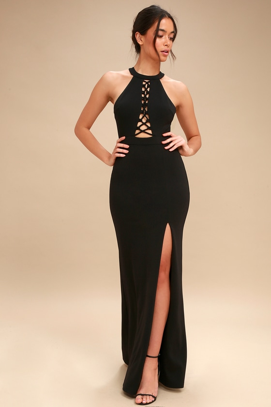 5ec7e2b2cf01 Sexy Black Dress - Maxi Dress - Lace-Up Dress - Halter Dress