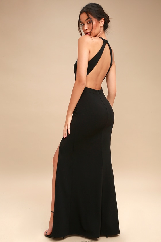 6de381a1d273 Can't Take My Eyes Off Of You Black Lace-Up Halter Maxi Dress