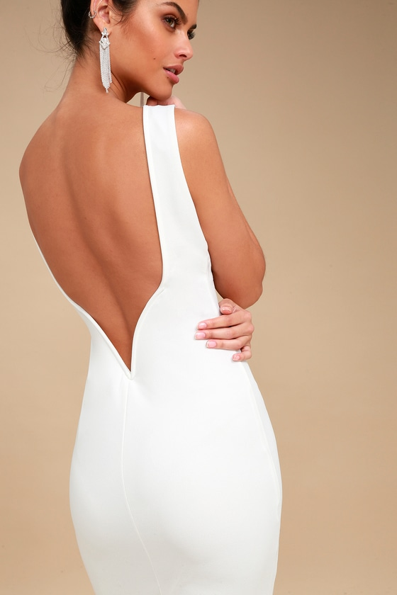 eafc51f7008a Chic White Midi Dress - Bodycon Dress - White Backless Dress