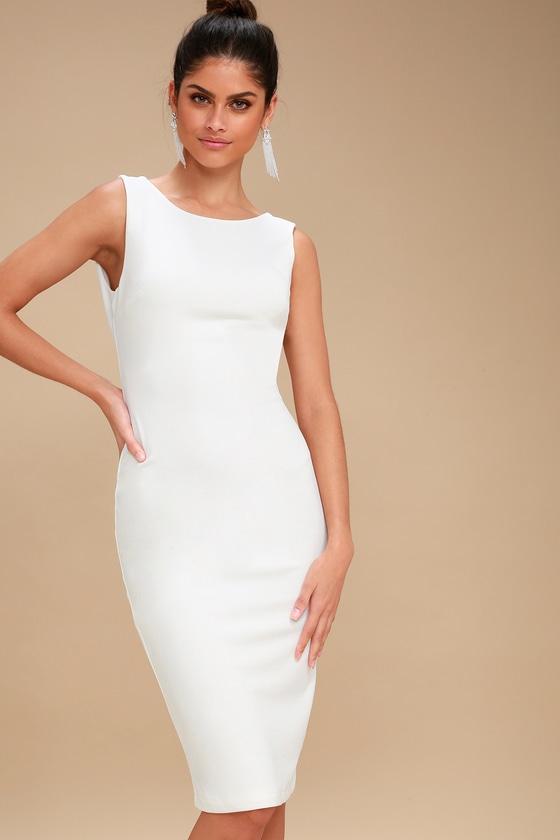 ec9ef16797c0e Chic White Midi Dress - Bodycon Dress - White Backless Dress
