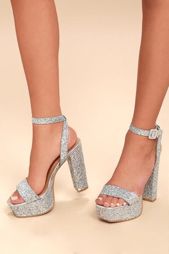 fe884eaf4a1 Silver Glitter Platform Heels - Platform Ankle Strap Heels