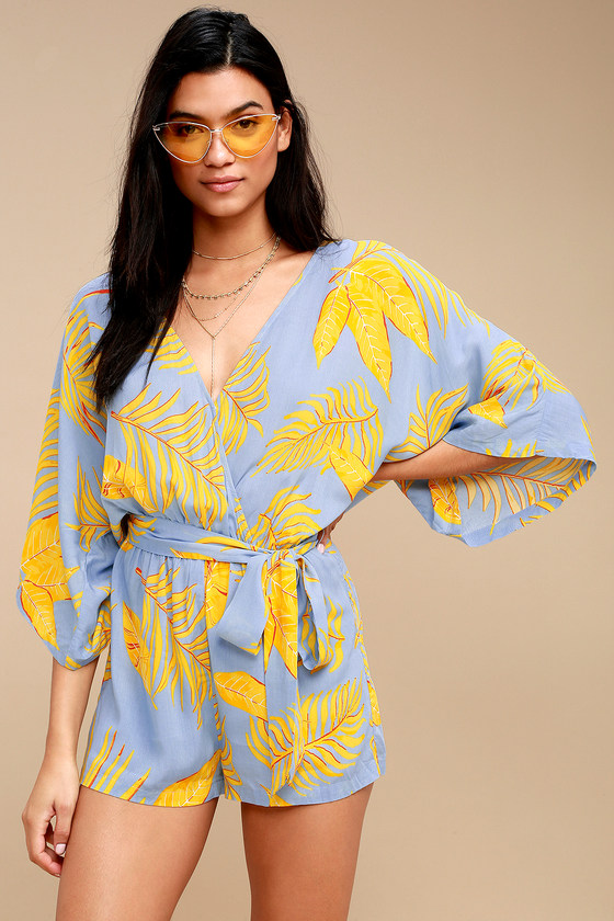 Vintage Rompers | Retro, Pin Up, Rockabilly Playsuits Fontana Light Blue and Yellow Leaf Print Romper - Lulus $49.00 AT vintagedancer.com