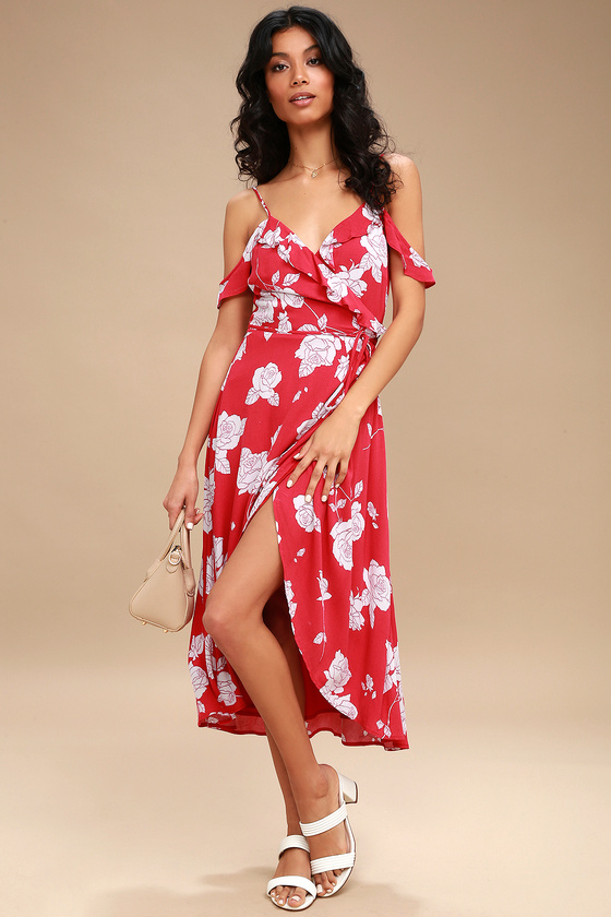 BOUQUET BLOOMS RED FLORAL PRINT OFF-THE-SHOULDER WRAP DRESS