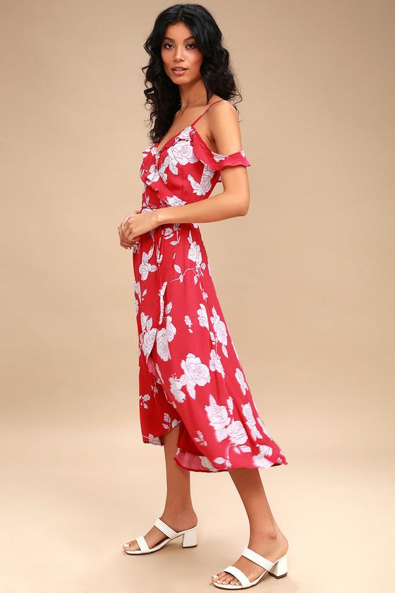 a06d3a3b49b Pretty Red Floral Print Dress - Wrap Dress - High-Low Dress