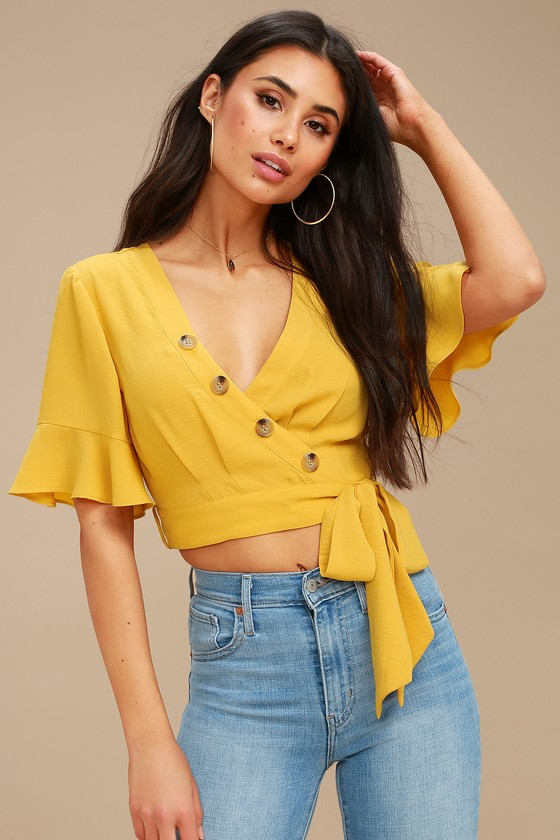 85ddfb4b3b7 Cute Yellow Crop Top - Wrap Top - Flounce Sleeve Top