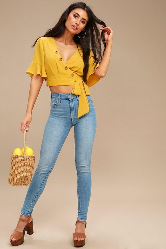 0864a9f1c44293 Cute Yellow Crop Top - Wrap Top - Flounce Sleeve Top