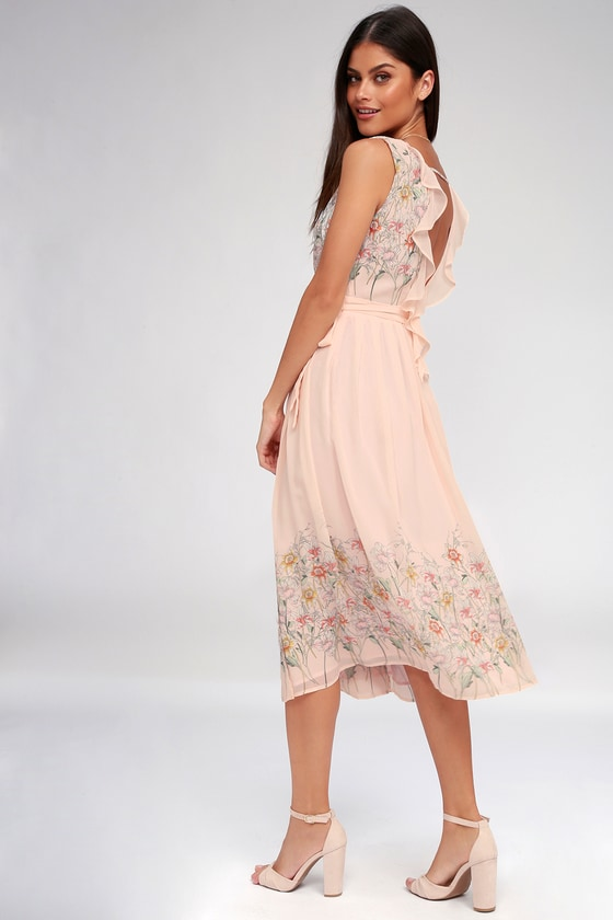 ASTR the Label Bristol Dress - Blush Pink Floral Print Dress