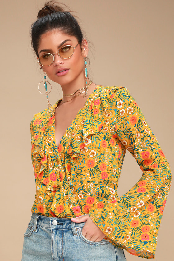 60s Shirts, T-shirt, Blouses | 70s Shirts, Tops, Vests Cant Stop Loving You Mustard Yellow Floral Print Bodysuit - Lulus $49.00 AT vintagedancer.com