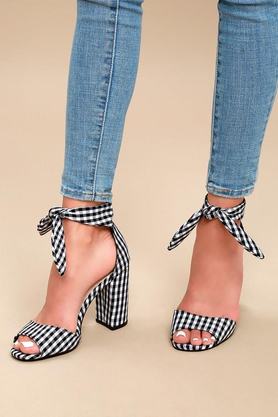 e83b9922aa0f Cute Black and White Gingham Heels - Tying Ankle Strap Heels