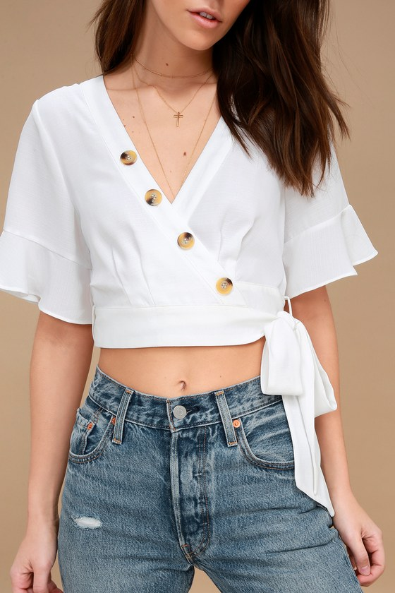 Love the Look! White Wrap Crop Top - Perfect for Summer