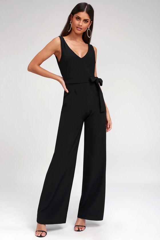 Vintage High Waisted Trousers, Sailor Pants, Jeans Screenplay Black Tie-Back Jumpsuit - Lulus $62.00 AT vintagedancer.com