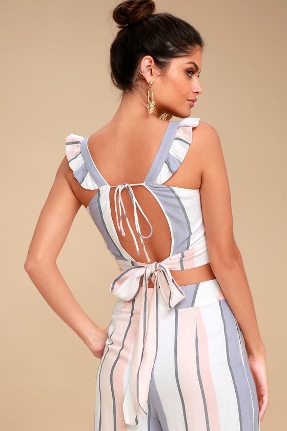 Jen White Multi Striped Backless Tie-Back Crop Top