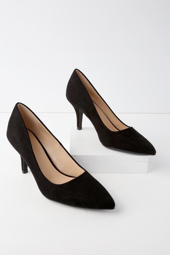 21ccbd84d1 Chic Black Pumps - Vegan Suede Pumps - Kitten Heels