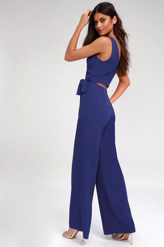 1ea64a38a25 Chic Blue Jumpsuit - Wide Leg Jumpsuit - Tie-Back Jumpsuit