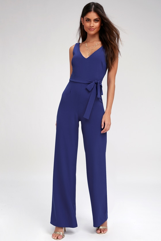 Vintage High Waisted Trousers, Sailor Pants, Jeans Screenplay Royal Blue Tie-Back Jumpsuit - Lulus $62.00 AT vintagedancer.com
