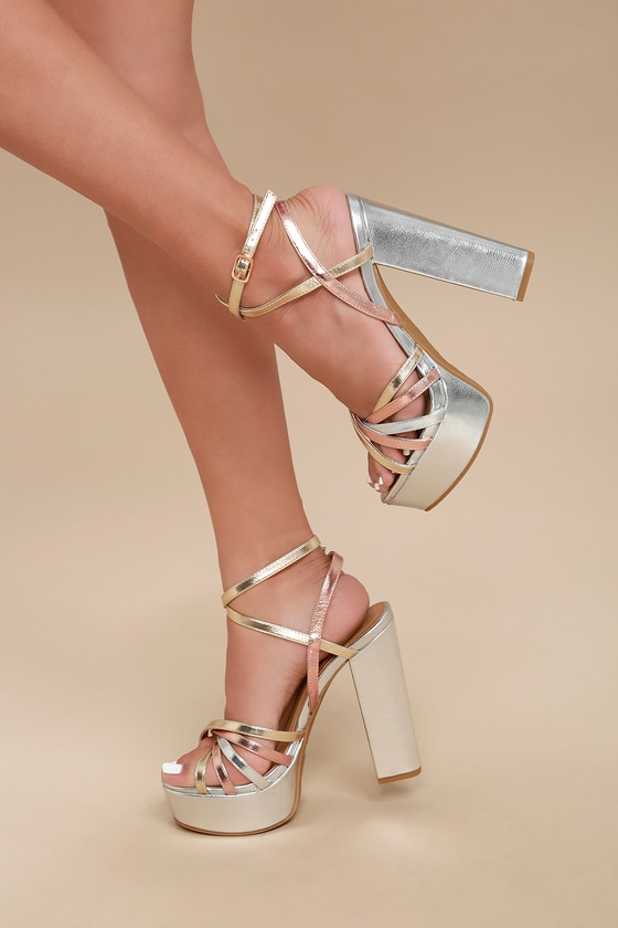60s Shoes, Boots | 70s Shoes, Platforms, Boots Angelika Silver Multi Platform Heels - Lulus $38.00 AT vintagedancer.com