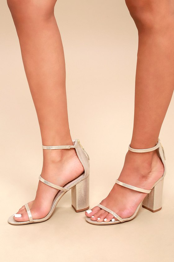 ca9b6adbc6e Chic Ankle Strap Heels - Gold Heels - Strappy Heels