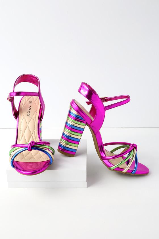 841273fe056 Stunning Fuchsia Heels - Multi Colored Heels - Patent Heels