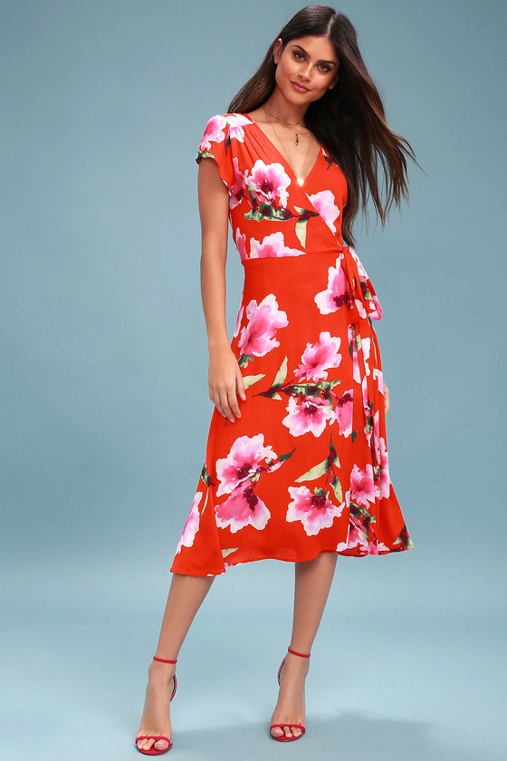 ac25d2f13d6 Lovely Coral Red Dress - Floral Print Wrap Midi Dress