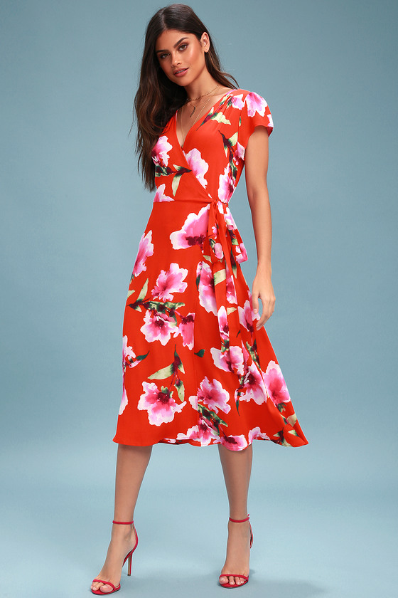 dadacb282e4 Have Love Will Travel Coral Red Floral Print Wrap Midi Dress