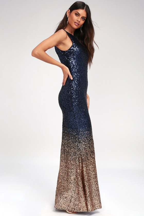 97582451 Infinite Dreams Rose Gold and Navy Blue Ombre Sequin Maxi Dress