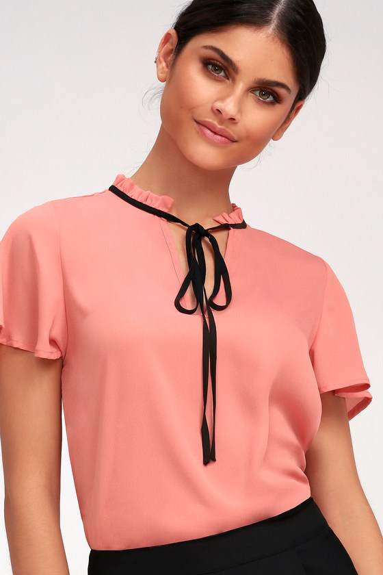 Vintage & Retro Shirts, Halter Tops, Blouses Committed to Love Coral Pink Short Sleeve Top - Lulus $37.00 AT vintagedancer.com