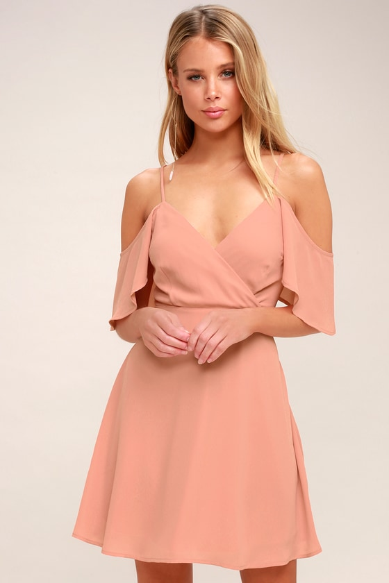 b0d0fba14ee Lovely Blush Pink Dress - Off-the-Shoulder Skater Dress