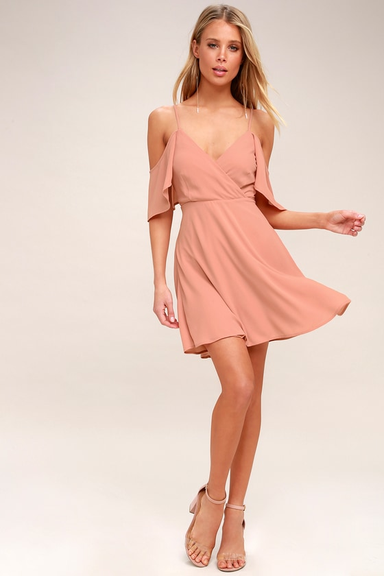 5d1d6ff30535 Candlelight Bistro Blush Pink Off-the-Shoulder Skater Dress