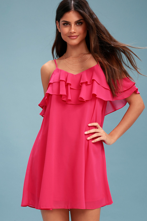 4dbc05e5599c Cute Fuchsia Dress - Off-the-Shoulder Dress - Shift Dress