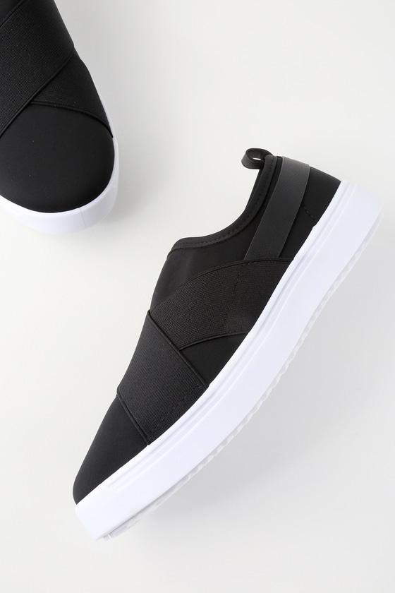 1f7d30dc71d3b Sleek Black Sneakers - Slip-On Sneakers - Trendy Sneakers
