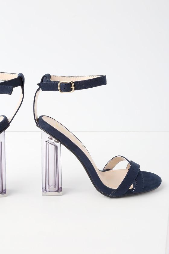 d4f45c6588d Navy Blue Suede Heels - Lucite Heels - Lucite Block Heel