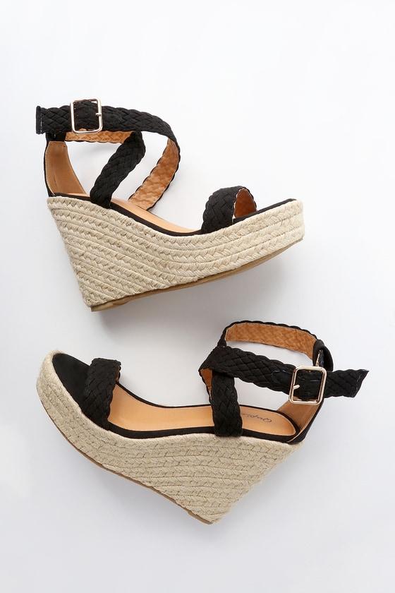 1cba1aae5efae Cute Espadrille Wedges - Black Wedges - Wedge Sandals