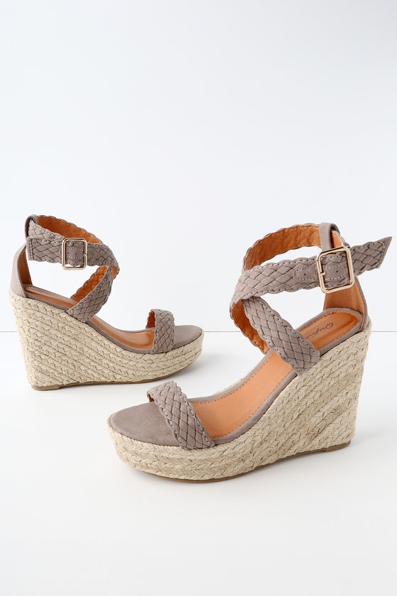 1bf67cd734d Frances Taupe Suede Espadrille Wedges