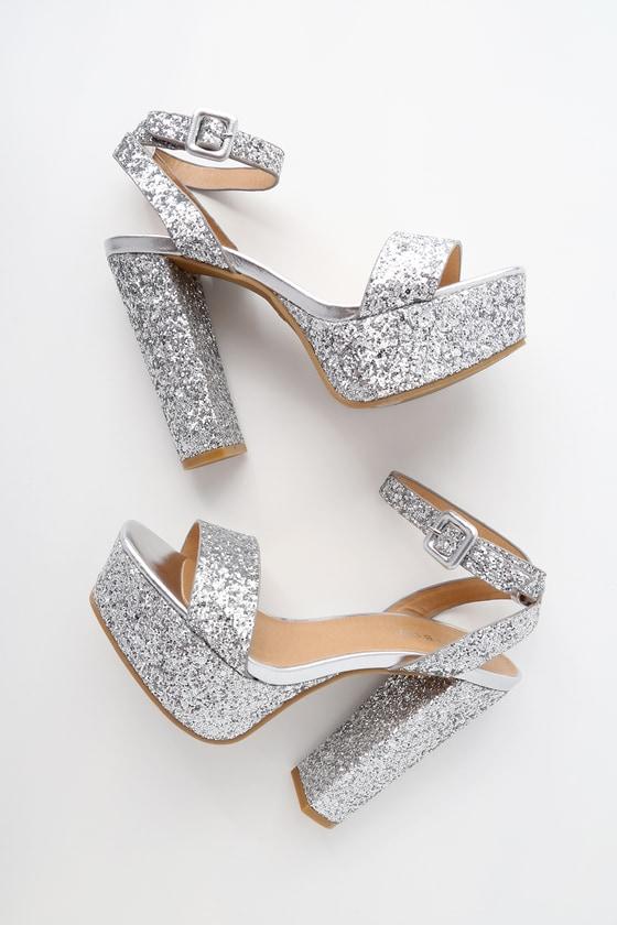 67b14c82b5596 Silver Glitter Platform Heels - Platform Ankle Strap Heels