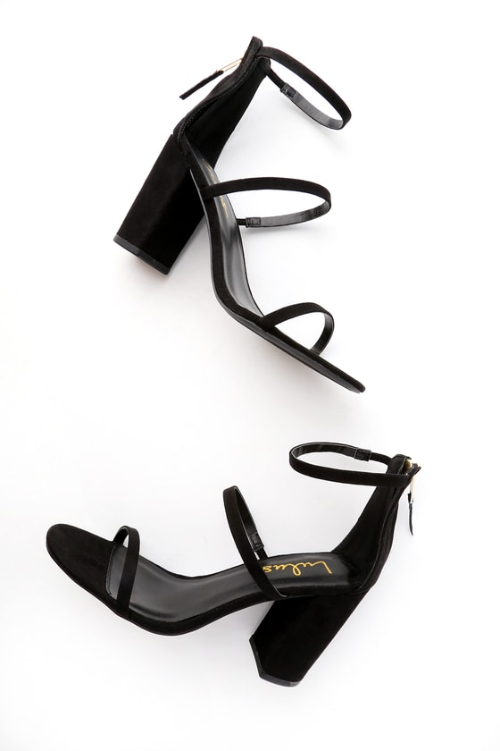 f876172617a Candice Black Suede Ankle Strap Heels