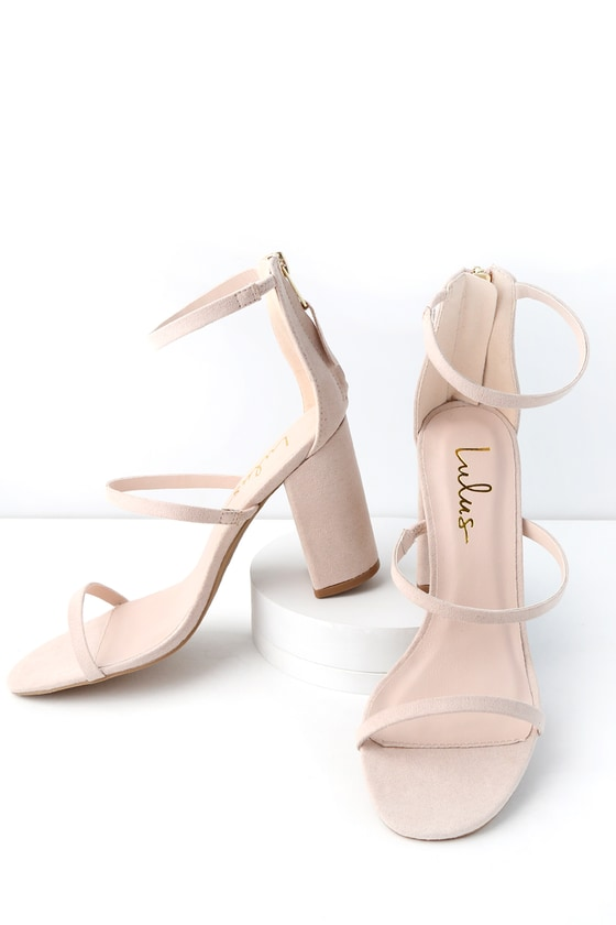 8767956a485 Candice Nude Suede Ankle Strap Heels