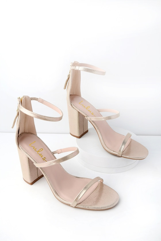 4b312013af5 Candice Champagne Metallic Ankle Strap Heels