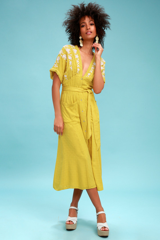 Vintage High Waisted Trousers, Sailor Pants, Jeans Love to Love You Mustard Yellow Embroidered Button-Up Midi Dress - Lulus $128.00 AT vintagedancer.com