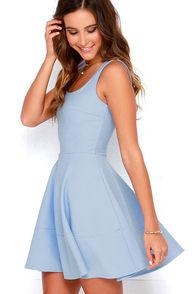 Pretty Blue And Ivory Dress Floral Print Dress Skater