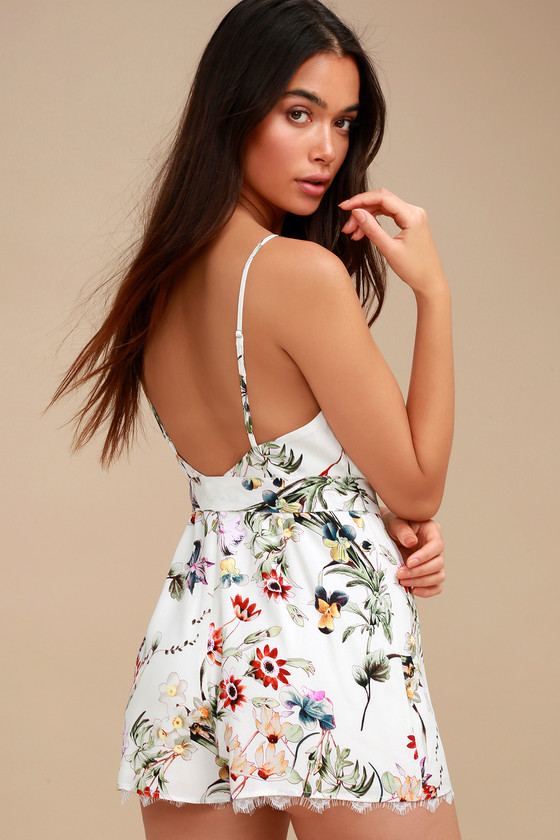 5119b5751445 Cute White Floral Print Romper - Wrap Romper - Lace Romper