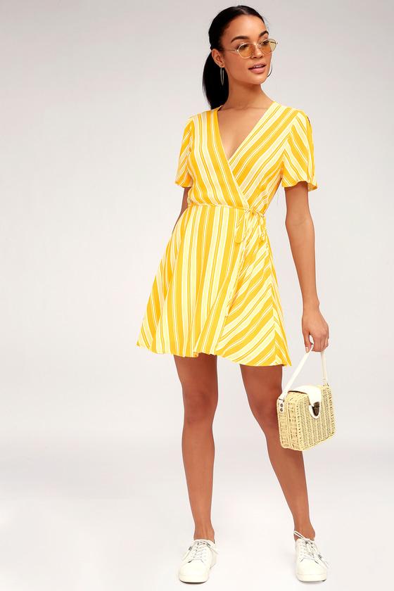 54c29bad48d2 Cute Yellow Wrap Dress - Short Wrap Dress - Striped Dress
